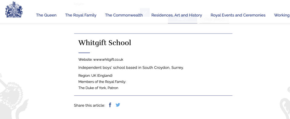 The Whitgift School cut its ties with the duke. (Royal.uk)