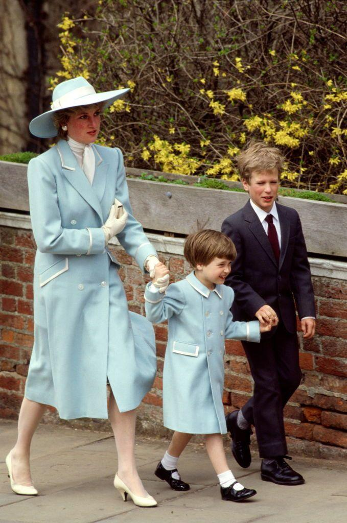 <p>Catherine Walker created a powder blue satin-trimmed coat for Diana and a similar version for Prince William for Easter in 1987. Too cute.</p>