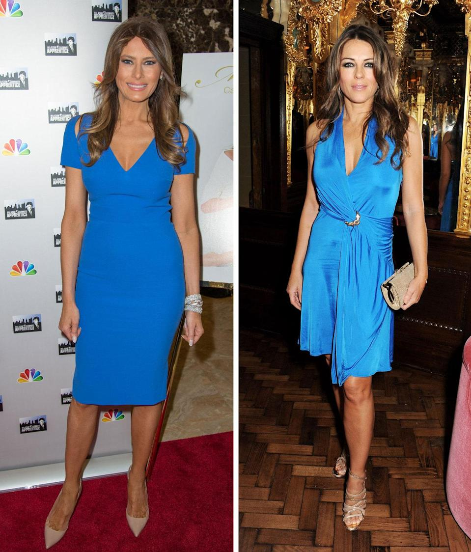 <p>Here, Trump and Hurley show off their golden tans in almost the exact same shade of bright blue. Even their choice of beauty and accessories is similar: Both have on neutral, nude heels and subtle yet polished waves. <i>Photos: Getty</i></p>