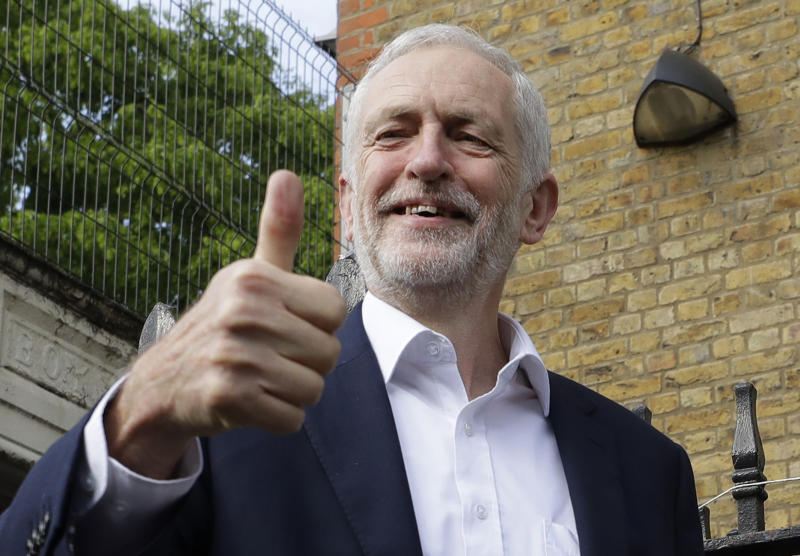 FILE - In this Thursday, May 23, 2019 file photo, Jeremy Corbyn leader of Britain's opposition Labour Party gives the thumbs up after voting in the European Elections in London. In a significant shift, Britain's main opposition Labour Party said Tuesday July 9, 2019, that Britain's next prime minister should hold a referendum on whether to leave the European Union or remain in the bloc. (AP Photo/Kirsty Wigglesworth, File)