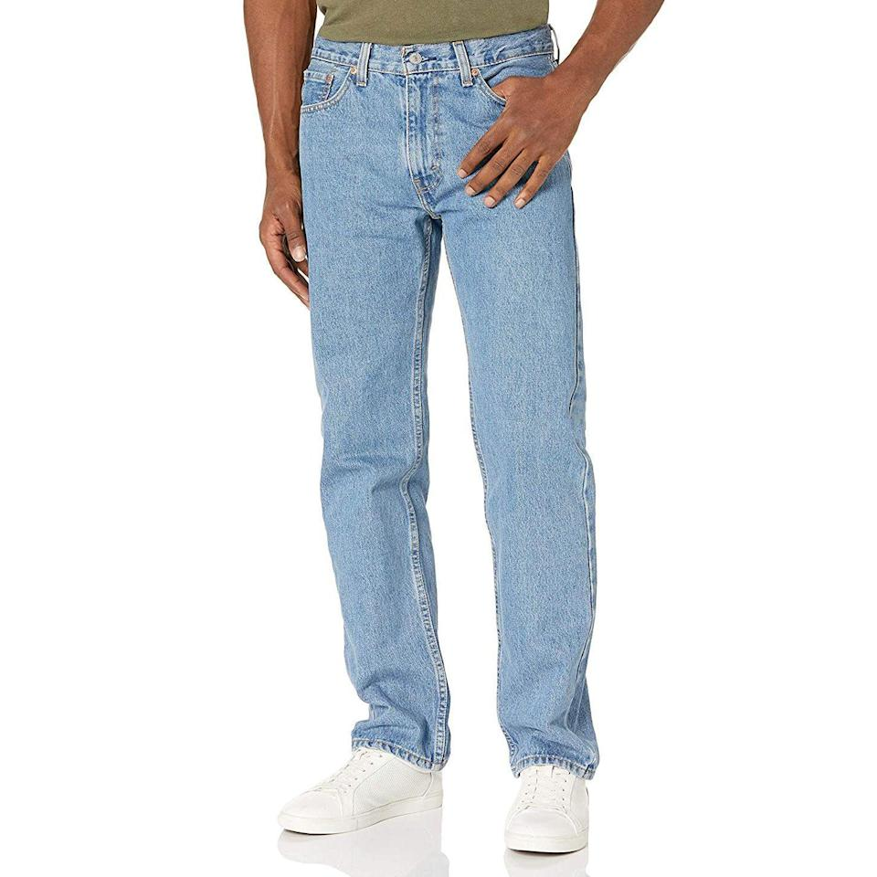 """<p><strong>Levi's</strong></p><p>amazon.com</p><p><strong>$40.50</strong></p><p><a href=""""https://www.amazon.com/dp/B000HTKMYI?tag=syn-yahoo-20&ascsubtag=%5Bartid%7C10054.g.36755392%5Bsrc%7Cyahoo-us"""" rel=""""nofollow noopener"""" target=""""_blank"""" data-ylk=""""slk:Shop Now"""" class=""""link rapid-noclick-resp"""">Shop Now</a></p><p>""""Regular fit"""": the siren song of dads everywhere.</p>"""