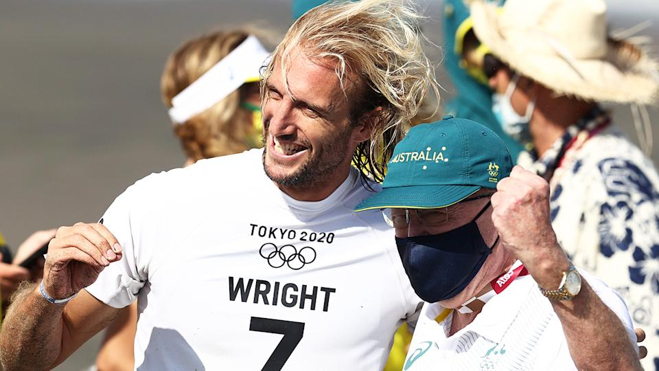 Owen Wright claimed bronze for Australia in the surfing, overcoming a bitterly disappointing semi-final loss to finish third in Tokyo. (Photo by Ryan Pierse/Getty Images)