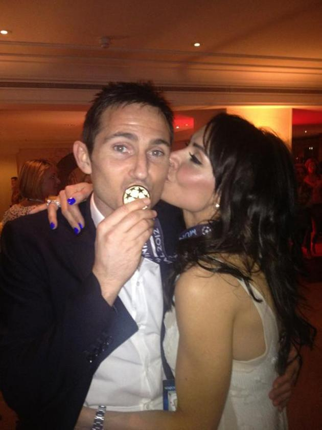 Celebrity photos: After Chelsea's win over the weekend, Frank Lampard was congratulated by his fiancée Christine Bleakley. She posted this picture of the pair on Twitter. Check out her Chelsea-inspired blue finger nails too!