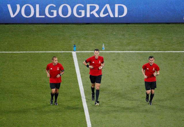 Soccer Football - World Cup - Group G - Tunisia vs England - Volgograd Arena, Volgograd, Russia - June 18, 2018 Referee Wilmar Roldan during the warm up before the match REUTERS/Gleb Garanich