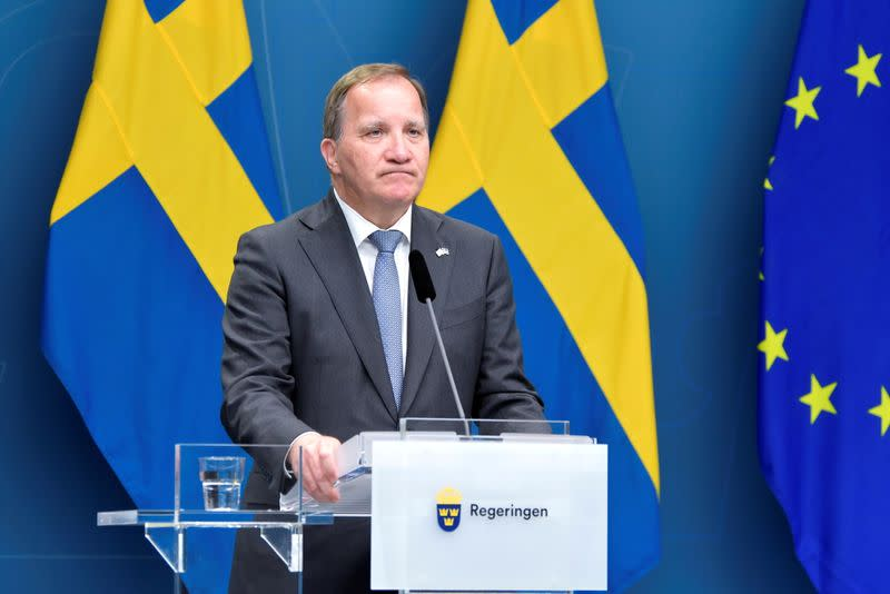 FILE PHOTO: Sweden's PM Stefan Lofven attends a news conference after the no-confidence vote, in Stockholm