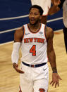 New York Knicks' Derrick Rose reacts after he was called for a foul in the third quarter against the Indiana Pacers during an NBA basketball game Saturday, Feb. 27, 2021, in New York. (Elsa/Pool Photo via AP)