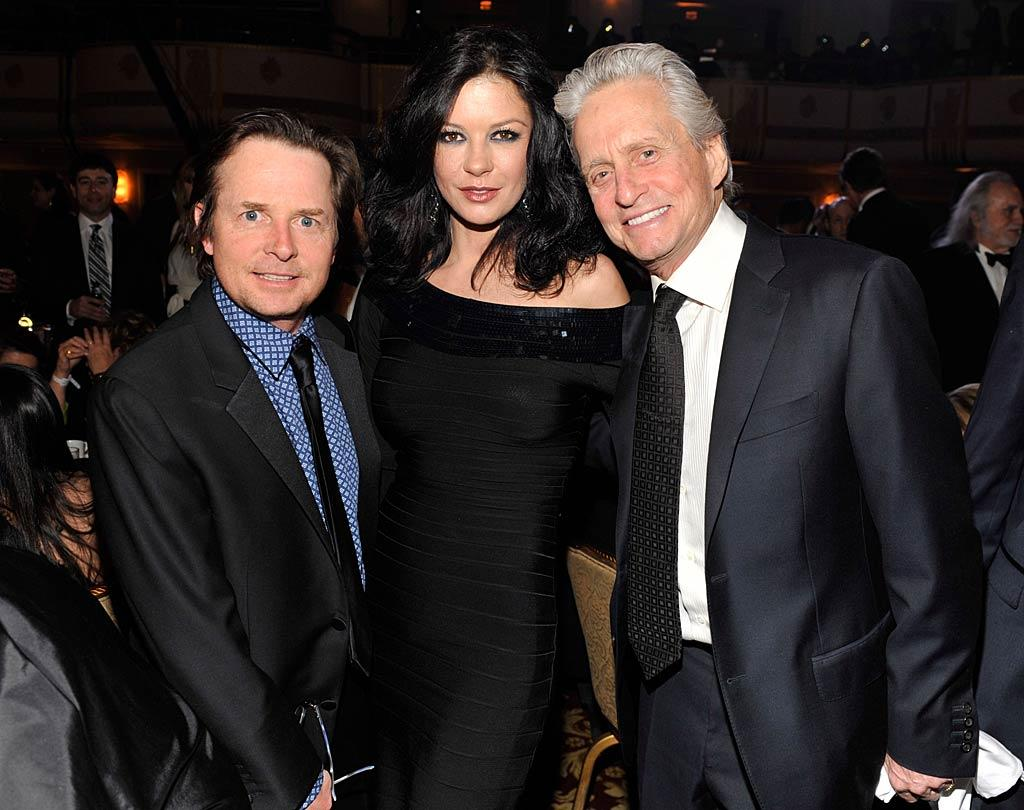 """Lots of music-loving celebs including Michael J. Fox, Catherine Zeta-Jones, and Michael Douglas came out for the big event. Think they sang along with """"Sweet Caroline""""? Kevin Mazur/<a href=""""http://www.wireimage.com"""" target=""""new"""">WireImage.com</a> - March 14, 2011"""