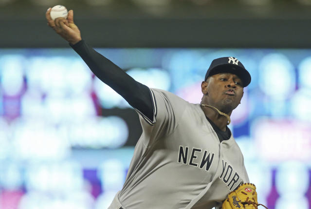 New York Yankees pitcher Luis Severino throws against the Minnesota Twins in the fourth inning of a baseball game Wednesday, Sept. 12, 2018, in Minneapolis. (AP Photo/Jim Mone)