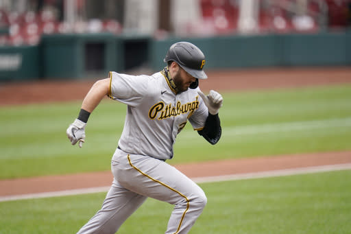Pittsburgh Pirates' Will Craig grounds out during the third inning in the first game of a baseball doubleheader against the St. Louis Cardinals Thursday, Aug. 27, 2020, in St. Louis. (AP Photo/Jeff Roberson)