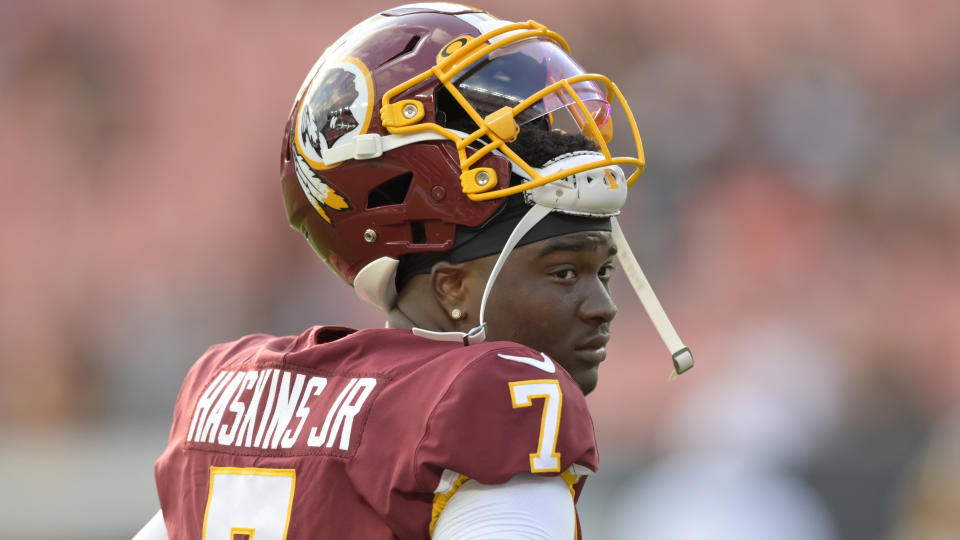 Waiting his turn: Washington rookie quarterback Dwayne Haskins is sitting and learning, even as the team has gotten off to an 0-3 start. (AP)