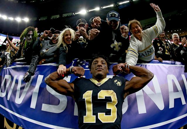 Michael Thomas had reason to flex. He caught 12 passes for 171 yards and a touchdown in New Orleans' 20-14 victory in the NFC playoffs. (Getty Images)