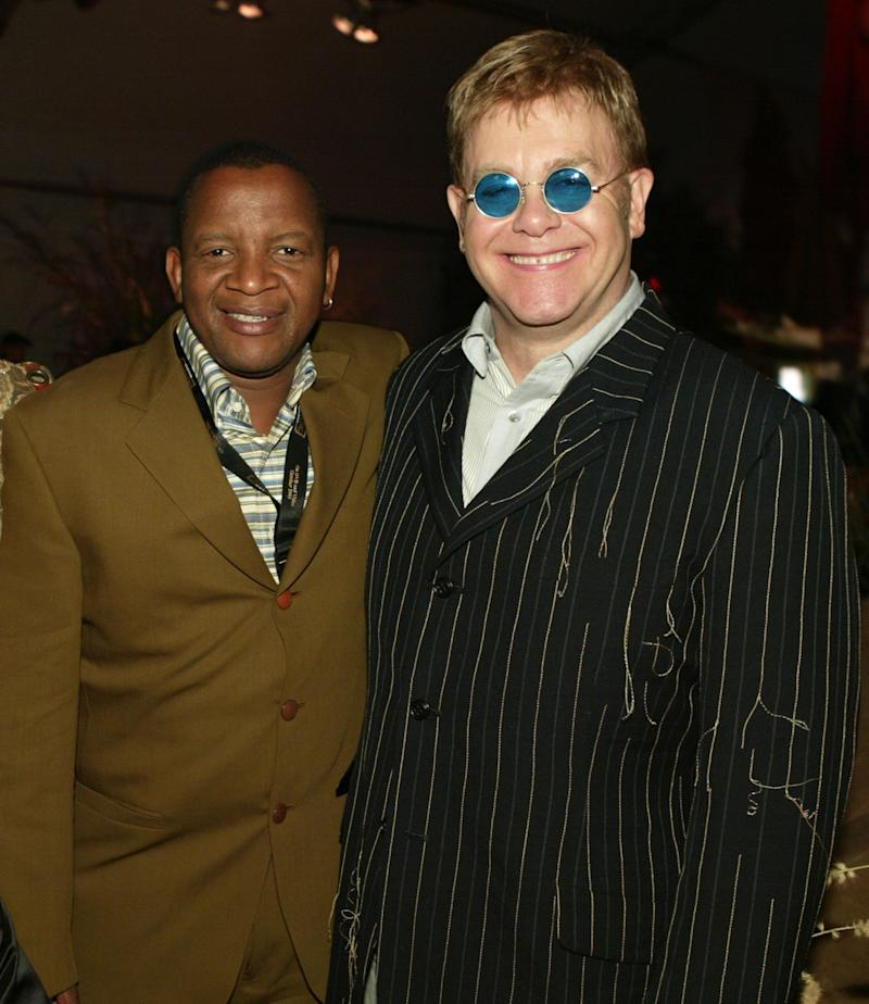 "Lebo M, vocal solos and Sir Elton John during DVD Debut of Walt Disney Pictures' ""The Lion King"" - After Party at El Capitan Theatre in Hollywood, California, United States. (Photo by Chris Polk/FilmMagic)"