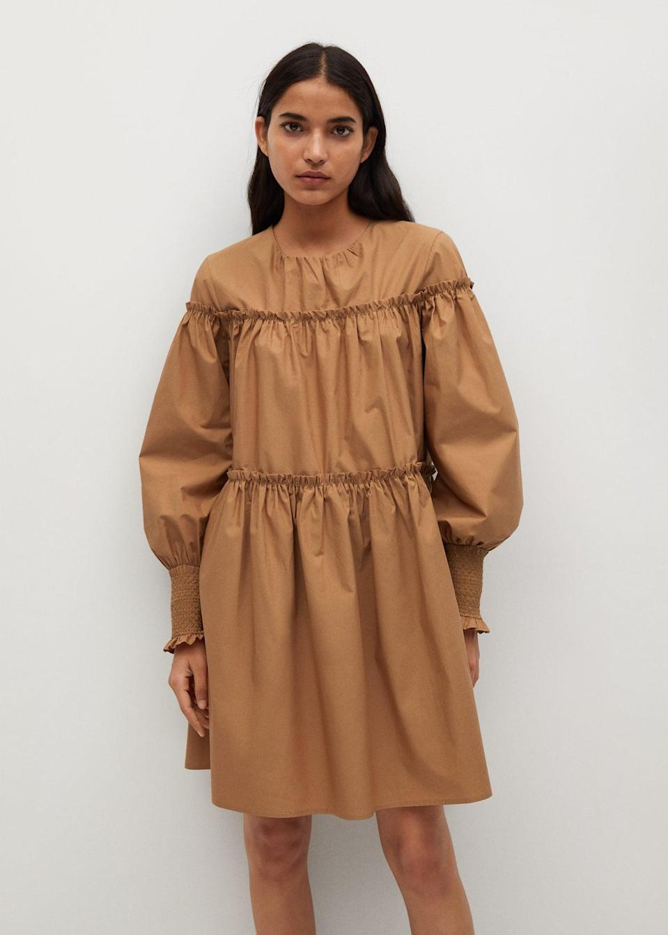 <p>You'll feel strong and confident in this <span>Mango Organic Cotton Puffed Dress</span> ($80).</p>