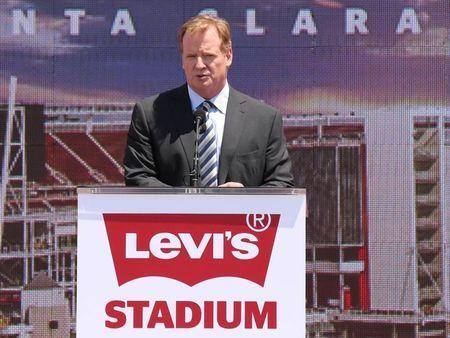 NFL commissioner Roger Goodell speaks during the ribbon cutting ceremony at Levi's Stadium. Jul 17, 2014; Santa Clara, CA, USA; Kelley L Cox-USA TODAY Sports -