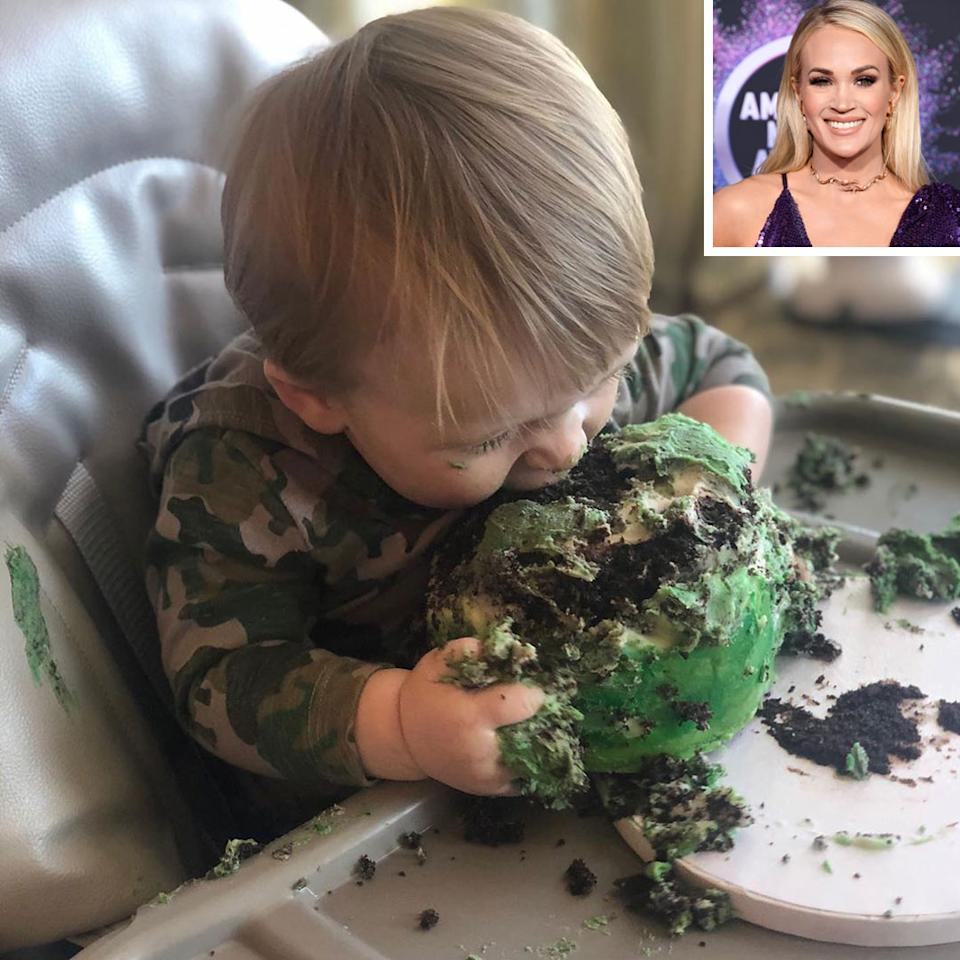 "<p>For her son Jacob's first birthday, Underwood didn't panic when he went head and hands first into his birthday cake.</p><p>""Happy birthday, Jacob! How are you already 1 year old? You are smiley, crazy, smart, soooo fast and into everything! And, apparently, you love cake!"" she wrote on Instagram before writing, ""Swipe to see how cute the cake was before Jake got ahold of it! 😂.""</p><p>The accompanying<a href=""https://www.instagram.com/p/B7lj61QF_bG/""> slideshow of pics</a> includes three photos of Jacob going at his cake and a before photo of the sweet treat, which was once a small cake with a baby mold of Jacob made out of fondant on top.</p>"