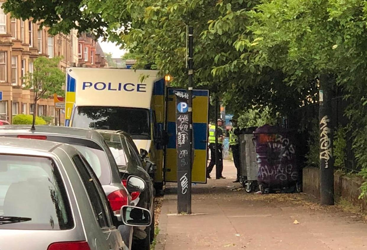 Police activity in West Princes Street in the Woodlands area of Glasgow following the death of pensioner Esther Brown whose body was found in her flat in suspicious circumstances. Picture date: Thursday June 3, 2021.