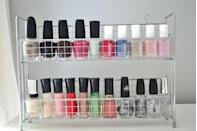 """<p>It's not like storing nail polish is a huge hassle, but it is an inconvenience when you can't find your perfect shade. A spice rack doesn't take up much room, and the slim shelves are just right for the small bottles.</p><p><a href=""""http://www.lizmarieblog.com/2011/09/makeup-organization-part-3/"""" rel=""""nofollow noopener"""" target=""""_blank"""" data-ylk=""""slk:See more at Liz Marie Blog »"""" class=""""link rapid-noclick-resp""""><em>See more at Liz Marie Blog »</em></a></p>"""