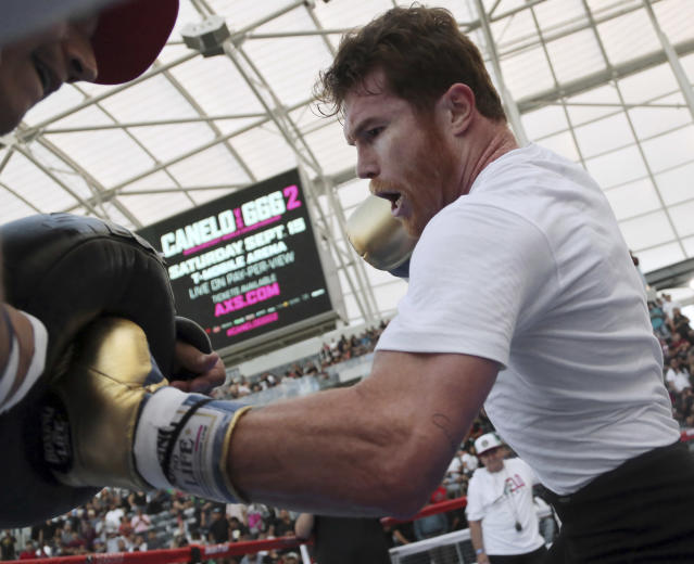 In this Sunday, Aug. 26, 2018 photo, middleweight Canelo Alvarez appears at a public workout at Banc of California Stadium in Los Angeles. (AP Photo)