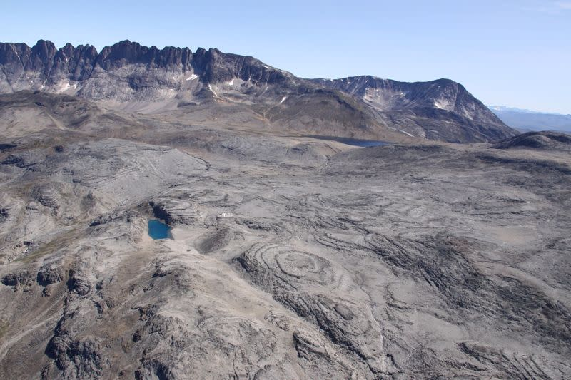 Aerial view of the Kringlerne rare earth deposit, near the town of Narsaq
