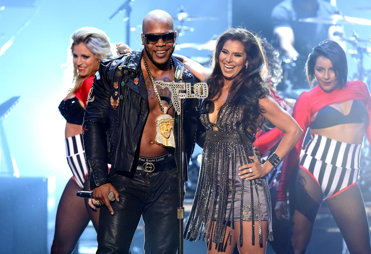 PASADENA, CA - SEPTEMBER 16:  Singers Flo Rida (L) and Roselyn Sanchez perform onstage at the 2012 NCLR ALMA Awards at Pasadena Civic Auditorium on September 16, 2012 in Pasadena, California.  (Photo by Jesse Grant/Getty Images for NCLR)