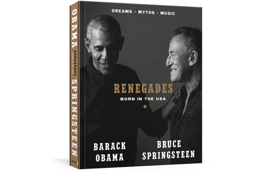 """This image provided by Crown shows the cover of """"Renegades: Born in the USA"""" by former President Barack Obama and musician Bruce Springsteen. (Courtesy of Crown via AP)"""