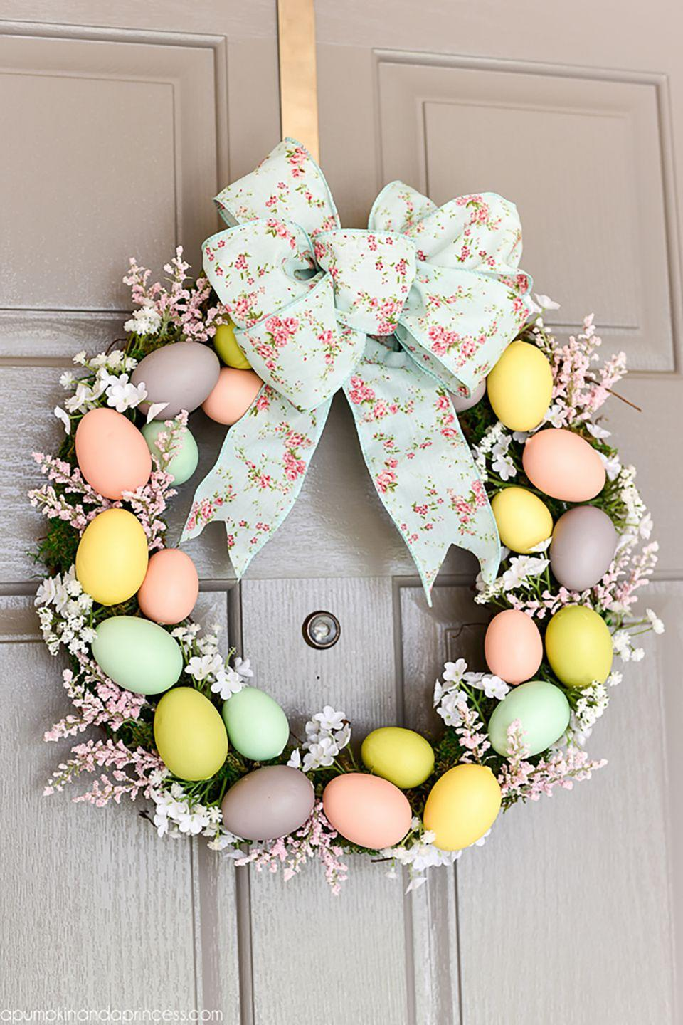 "<p>This <a href=""https://www.countryliving.com/diy-crafts/g4088/easter-wreath/"" rel=""nofollow noopener"" target=""_blank"" data-ylk=""slk:handmade wreath"" class=""link rapid-noclick-resp"">handmade wreath</a>, crafted using moss, pastel Easter eggs, and flowers, signals to those entering your home that you're ready to celebrate spring!</p><p><strong>Get the tutorial at <a href=""http://apumpkinandaprincess.com/2016/03/diy-easter-egg-wreath.html"" rel=""nofollow noopener"" target=""_blank"" data-ylk=""slk:A Pumpkin And A Princess"" class=""link rapid-noclick-resp"">A Pumpkin And A Princess</a>. </strong></p><p><a class=""link rapid-noclick-resp"" href=""https://www.amazon.com/Sntieecr-Natural-Grapevine-Wreaths-Thanksgiving/dp/B08QYLNXLB/ref=sr_1_1_sspa?tag=syn-yahoo-20&ascsubtag=%5Bartid%7C10050.g.1652%5Bsrc%7Cyahoo-us"" rel=""nofollow noopener"" target=""_blank"" data-ylk=""slk:SHOP GRAPEVINE WREATH""><strong>SHOP GRAPEVINE WREATH</strong></a></p>"