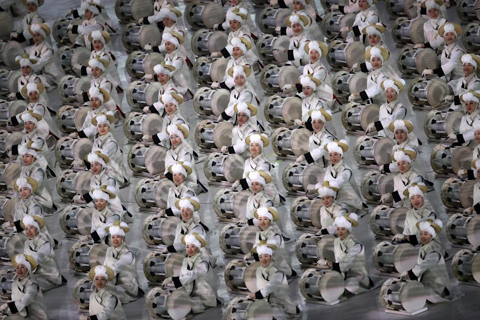 <p>Dancers perform during the Opening Ceremony of the PyeongChang 2018 Winter Olympic Games at PyeongChang Olympic Stadium on February 9, 2018 in Pyeongchang-gun, South Korea. (Photo by Sean M. Haffey/Getty Images) </p>