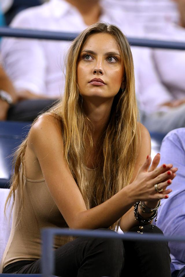 NEW YORK, NY - SEPTEMBER 05:  Ester Satorova the girlfriend of Tomas Berdych of Czech Republic watches his men's singles quarterfinal match against Roger Federer of Switzerland on Day Ten of the 2012 US Open at USTA Billie Jean King National Tennis Center on September 5, 2012 in the Flushing neighborhood of the Queens borough of New York City.  (Photo by Clive Brunskill/Getty Images)