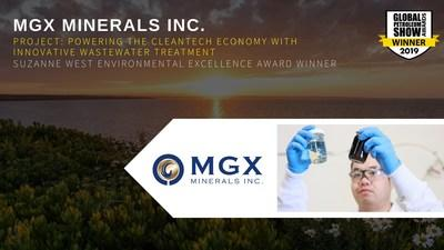 MGX MINERALS INC. - PROJECT: POWERING THE CLEANTECH ECONOMY WITH INNOVATIVE WASTEWATER TREATMENT - SUZANNE WEST ENVIRONMENTAL EXCELLENCE AWARD WINNER (CNW Group/MGX Minerals Inc.)