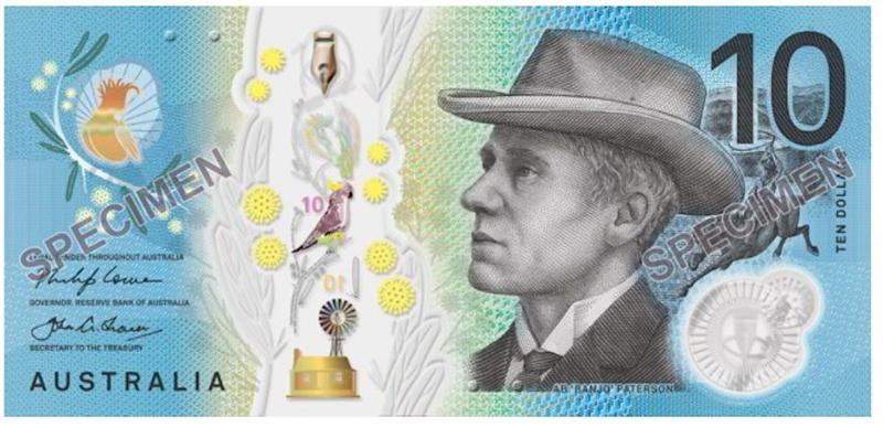 One side of the note will feature famous Australian writer 'Banjo' Paterson.Source: Reserve Bank of Australia