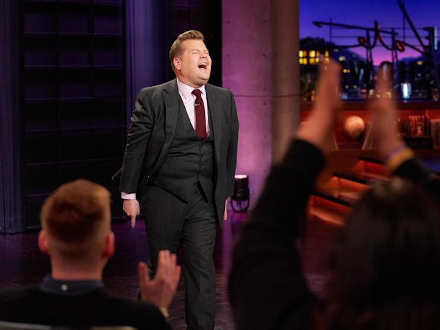The Late Late Show with James Corden airing Thursday, January 23, 2020, with guests Greta Gerwig, Noah Baumbach, and standup comic Demetri Martin. (Photo by Terence Patrick/CBS via Getty Images)