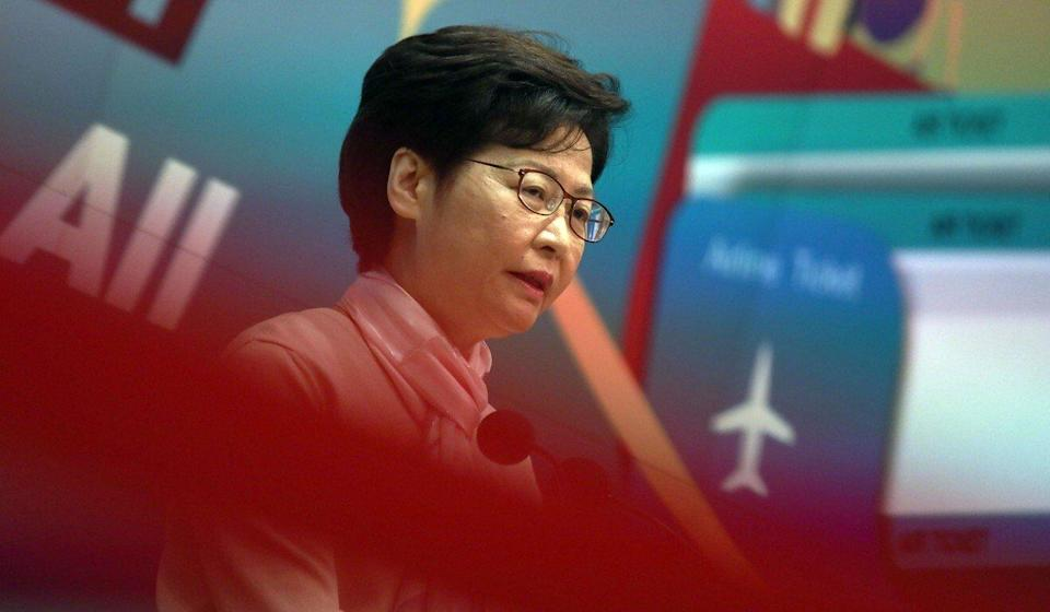 Carrie Lam speaks to the press on Tuesday ahead of her weekly Executive Council meeting. Photo: Xiaomei Chen