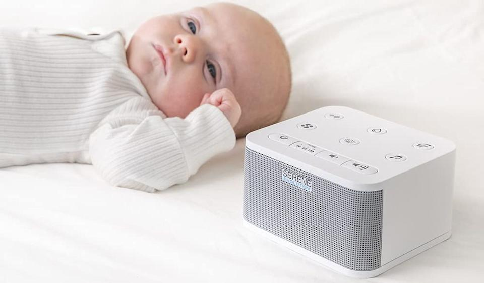 OK, the baby in this photo is hilariously NOT fast asleep, but trust me when I say this white-noise machine can help infants and adults alike. (Photo: Serene Evolution)