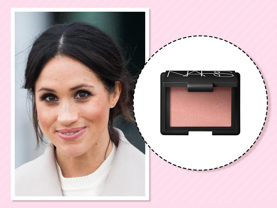 "<p>The duchess enhances her natural glow with the best-selling Nars blush, which <a href=""https://beautybanter.com/banter-babe-meghan-markle"" rel=""nofollow noopener"" target=""_blank"" data-ylk=""slk:she described in Beauty Banter as"" class=""link rapid-noclick-resp"">she described in Beauty Banter as</a> ""a perfect rosy flush tone that brightens the face."" (Photo: Getty Images)<br><strong><a href=""https://fave.co/2zOzba0"" rel=""nofollow noopener"" target=""_blank"" data-ylk=""slk:Shop it"" class=""link rapid-noclick-resp"">Shop it</a>:</strong> $30, <a href=""https://fave.co/2zOzba0"" rel=""nofollow noopener"" target=""_blank"" data-ylk=""slk:macys.com"" class=""link rapid-noclick-resp"">macys.com</a> </p>"