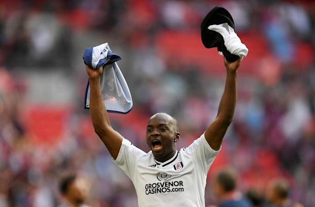 "Soccer Football - Championship Play-Off Final - Fulham vs Aston Villa - Wembley Stadium, London, Britain - May 26, 2018 Fulham's Neeskens Kebano celebrates promotion to the Premier League Action Images via Reuters/Tony O'Brien EDITORIAL USE ONLY. No use with unauthorized audio, video, data, fixture lists, club/league logos or ""live"" services. Online in-match use limited to 75 images, no video emulation. No use in betting, games or single club/league/player publications. Please contact your account representative for further details."
