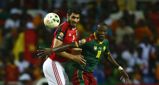 Football Soccer - African Cup of Nations - Final - Egypt v Cameroon - Stade d'Angondjé - Libreville, Gabon - 5/2/17 Cameroon's Vincent Aboubakar in action with Egypt's Ali Gabr Reuters / Amr Abdallah Dalsh Livepic