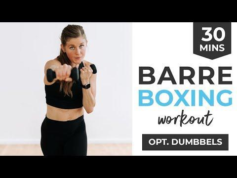 """<ul><li><strong>Equipment: </strong>Light hand weights</li></ul><p>Combine all the lengthening, strengthening aspects of Barre with the cardio benefits of boxing in this thirty-minute combo-class. The hand weights are optional but you'll get more of a burn if you have them. </p><p><a href=""""https://www.youtube.com/watch?v=faWICn429ic&ab_channel=nourishmovelove"""" rel=""""nofollow noopener"""" target=""""_blank"""" data-ylk=""""slk:See the original post on Youtube"""" class=""""link rapid-noclick-resp"""">See the original post on Youtube</a></p>"""