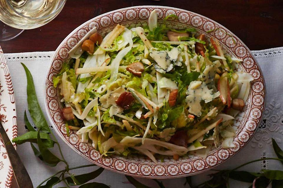 "<p>This easy and fresh salad has all the makings of an autumnal classic. After giving it a try you will be searching for a way to fit it on the Thanksgiving table.</p><p><strong><a href=""https://www.countryliving.com/food-drinks/recipes/a5896/shaved-brussels-sprout-chestnut-salad-recipe-clx1114/?click=recipe_sr"" rel=""nofollow noopener"" target=""_blank"" data-ylk=""slk:Get the recipe"" class=""link rapid-noclick-resp"">Get the recipe</a>.</strong></p>"