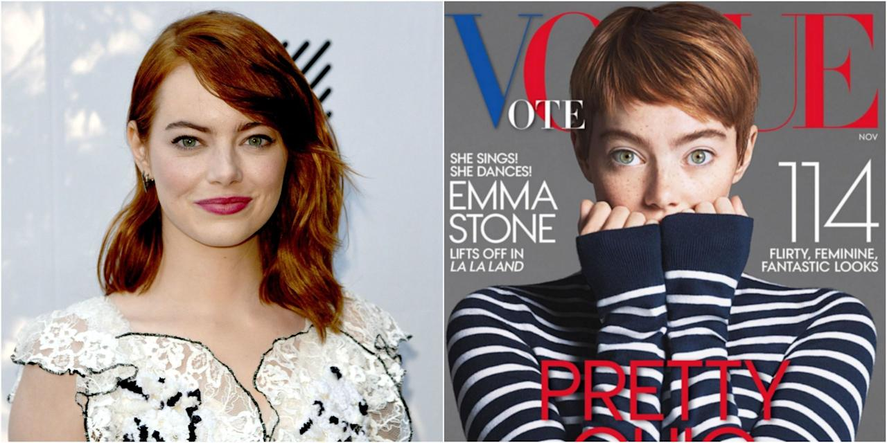 """<p>In case you weren't alreadyobsessed with Emma Stone's gorgeous red strands, this beloved gingersnipped her hair into a beautiful pixie reminiscent of <a rel=""""nofollow"""" href=""""https://ec.yimg.com/ec?url=http%3a%2f%2fwww.goodhousekeeping.com%2fbeauty%2fhair%2ftips%2fg409%2fcelebrity-hairstyles-pixie%2f%26quot%3b%26gt%3bMia&t=1506228751&sig=SNKK8nt7A35bgWBPSBH7eA--~D Farrow's iconic '60s look</a>— or so it seems. In her<a rel=""""nofollow"""" href=""""http://www.vogue.com/13490922/emma-stone-november-cover-la-la-land-movie-ryan-gosling/""""><em>Vogue</em> coverstory</a><em>,</em><span>Stone still has her shoulder-grazing lob, so it <i>could</i>just be a totally believable wig. Either way, it's clear that Emma looks excellent with literally any hair length, particularly one that shows off her eyes like this.<span></span></span></p>"""