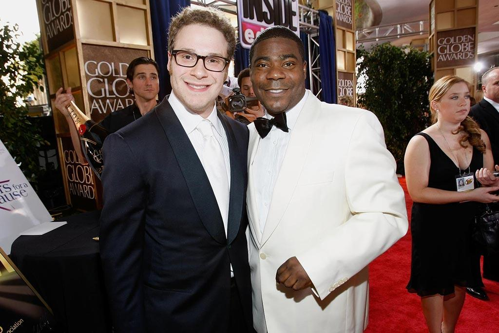 "Funnymen Seth Rogen and Tracy Morgan shared a laugh on the red carpet.. Michael Buckner/<a href=""http://www.gettyimages.com/"" target=""new"">GettyImages.com</a> - January 11, 2009"