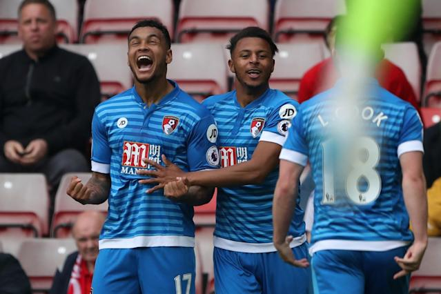 <p>Bournemouth's Joshua King celebrates scoring their first goal with team mates </p>