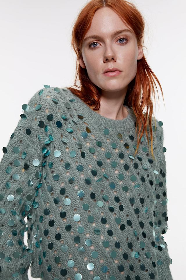 """<p>This season's sequins come in all different sizes and colors. They're woven into sweaters and they cover gowns from head to toe. If you need a little inspiration, check out <a href=""""https://www.popsugar.com/fashion/kiernan-shipka-sequin-miu-miu-dress-let-it-snow-premiere-46852460"""" class=""""ga-track"""" data-ga-category=""""Related"""" data-ga-label=""""https://www.popsugar.com/fashion/kiernan-shipka-sequin-miu-miu-dress-let-it-snow-premiere-46852460"""" data-ga-action=""""In-Line Links"""">Kiernan Shipka's Miu Miu mini</a>, with loads of paillettes, crystals, and feathers.</p> <p><a href=""""https://www.popsugar.com/buy/Zara-Textured-Sequin-Sweater-512601?p_name=Zara%20Textured%20Sequin%20Sweater&retailer=zara.com&pid=512601&price=50&evar1=fab%3Aus&evar9=46859321&evar98=https%3A%2F%2Fwww.popsugar.com%2Ffashion%2Fphoto-gallery%2F46859321%2Fimage%2F46859329%2FHoliday-Fashion-Trend-2019-Sequins&list1=shopping%2Ctrends%2Choliday%2Choliday%20fashion&prop13=mobile&pdata=1"""" rel=""""nofollow"""" data-shoppable-link=""""1"""" target=""""_blank"""" class=""""ga-track"""" data-ga-category=""""Related"""" data-ga-label=""""https://www.zara.com/us/en/textured-sequin-sweater-p03859127.html?v1=22594930&amp;v2=1281662"""" data-ga-action=""""In-Line Links"""">Zara Textured Sequin Sweater</a> ($50)</p>"""