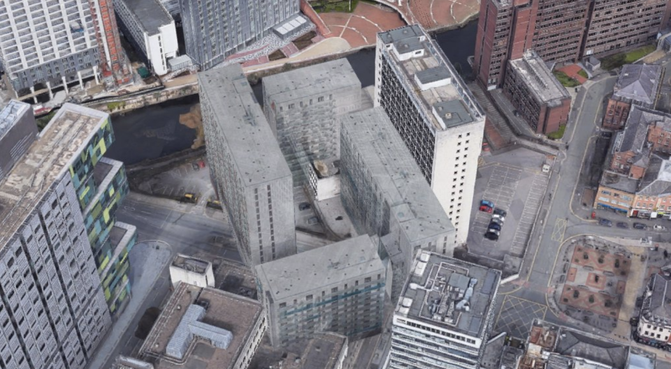 The Google Maps image showing several Manchester buildings from above.