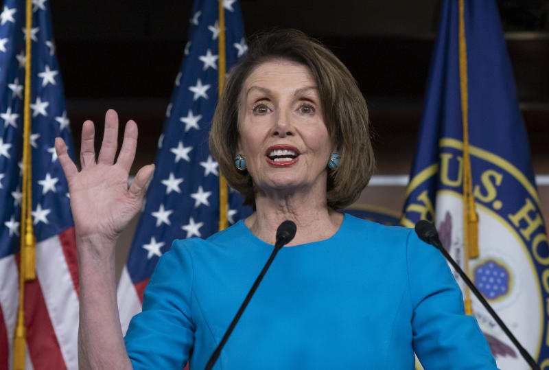 """Speaker of the House Nancy Pelosi, D-Calif., meets with reporters at her weekly news conference at the Capitol in Washington, Thursday, May 16, 2019. Pelosi says the U.S. must avoid war with Iran, and she says the White House has """"no business"""" moving toward a Middle East confrontation without approval from Congress. (AP Photo/J. Scott Applewhite)"""