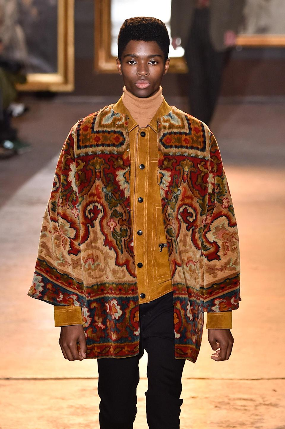 Alton Mason walks for Etro in Milan, January 12, 2020.