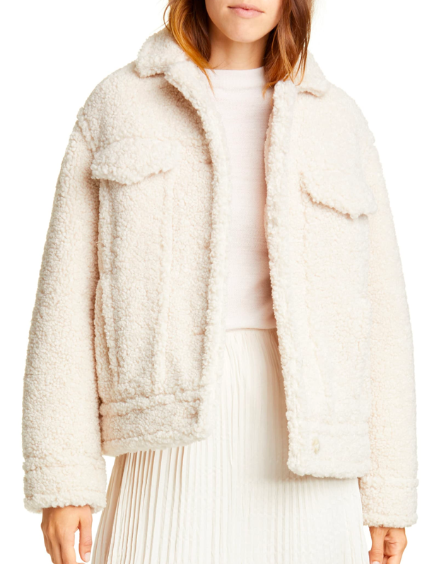 """Channel a cloud with this ultra-cozy fleece jacket from Vince. The pearl color is versatile, but you can also go with mauve if you're looking to make a statement. $395, Nordstrom. <a href=""""https://shop.nordstrom.com/s/vince-teddy-jacket/5376434/full"""" rel=""""nofollow noopener"""" target=""""_blank"""" data-ylk=""""slk:Get it now!"""" class=""""link rapid-noclick-resp"""">Get it now!</a>"""