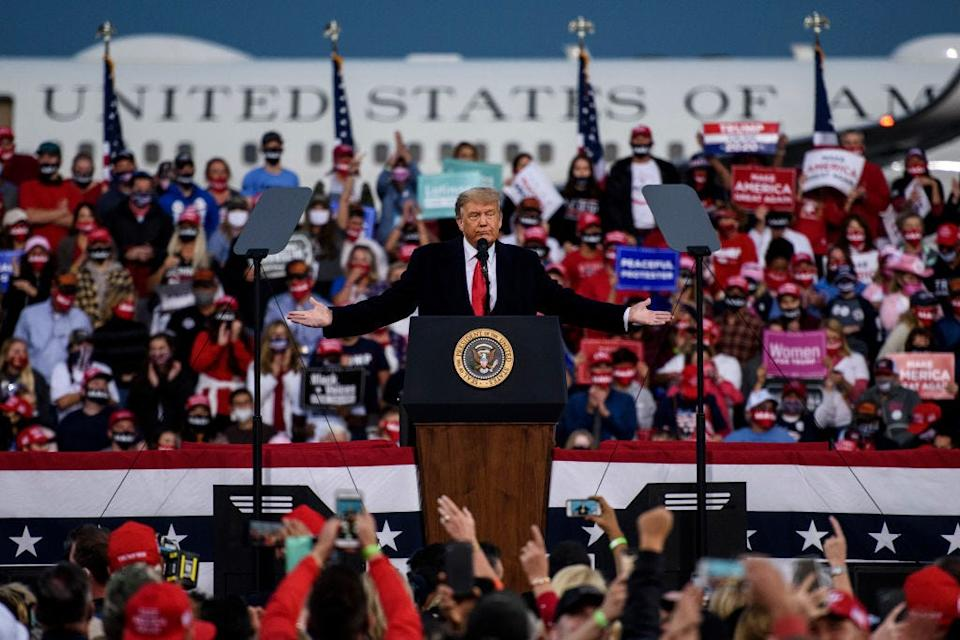 trump fay FAYETTEVILLE, NC - SEPTEMBER 19: President Donald Trump addresses a crowd at the Fayetteville Regional Airport on September 19, 2020 in Fayetteville, North Carolina. Thousands of people joined to hear the president during the Make America Great Again campaign rally. (Photo by Melissa Sue Gerrits/Getty Images)