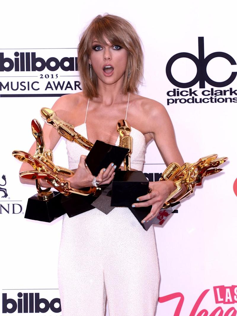 Singer Taylor Swift has been sued over lyrics from her award winning song, Shake It Off. Source: Getty