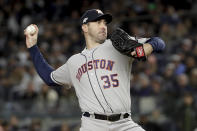 Houston Astros starting pitcher Justin Verlander (35) delivers against the New York Yankees during the second inning of Game 5 of baseball's American League Championship Series, Friday, Oct. 18, 2019, in New York. (AP Photo/Frank Franklin II)
