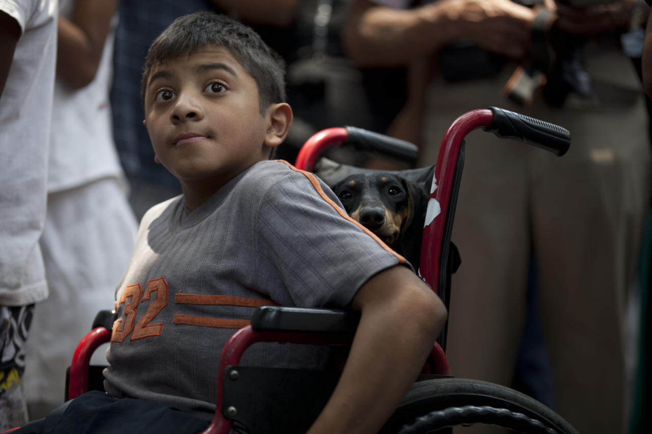 In this photo taken on Sunday, May 27, 2012, a boy sitting in a wheelchair watches Mexican Lucha Libre wrestlers performing in downtown Mexico City. (AP Photo/Alexandre Meneghini)